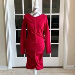 Nicole Miller Artelier Christina Red ponte Dress